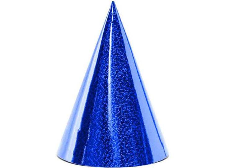 Partyhüte Holografisch blau 6 Stk.
