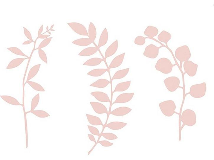 Bastelset Zweige mit Blättern rosa 9 tlg.