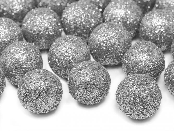 Dekobälle glitzer silber 25 Stk.