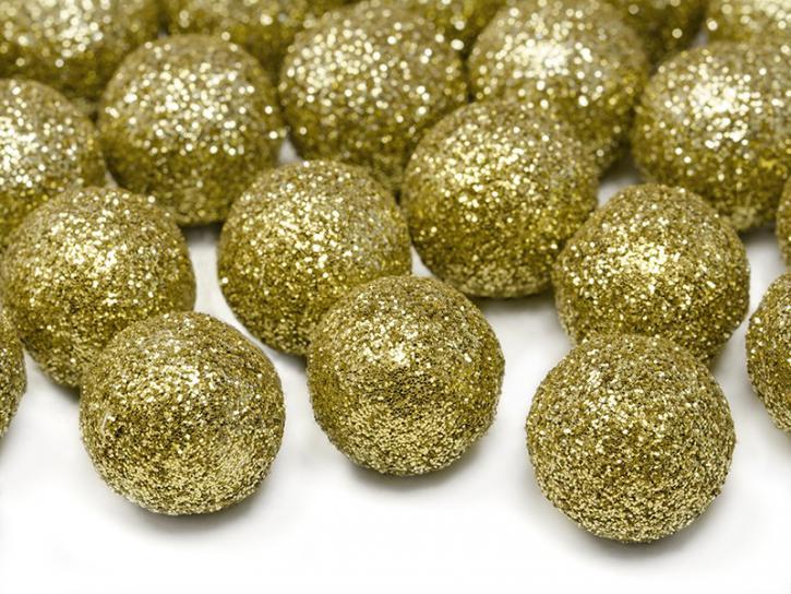 Dekobälle glitzer gold 25 Stk.