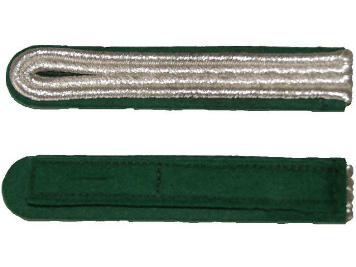 Schulterstücke grün/silber 2 Streifen
