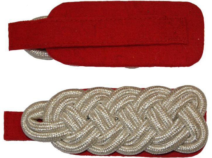 Schulterstücke rot/silber geflochten