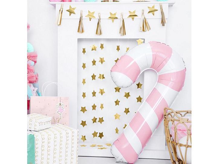 Folienballon Zuckerstange rosa
