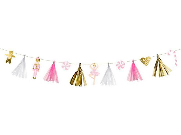 Girlande Christmas mit Tasseln rosa/gold 2,3m