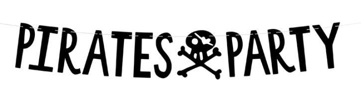 Banner Pirate Party schwarz 2m