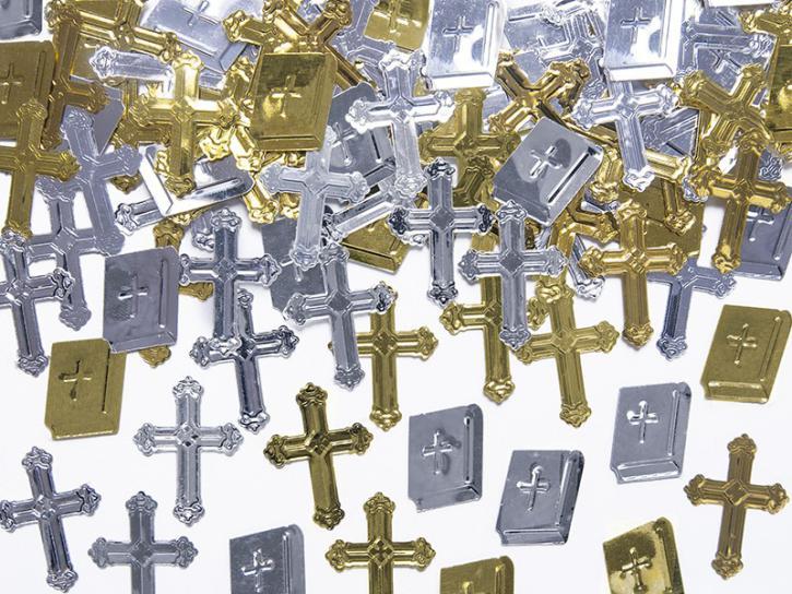 Konfetti Kreuze und Bibel silber/gold 15g