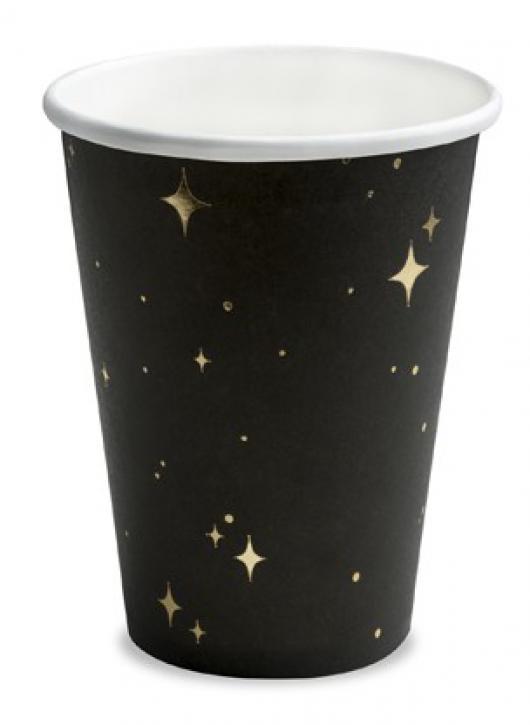 Becher schwarz mit goldenen Sternen 6 Stk.