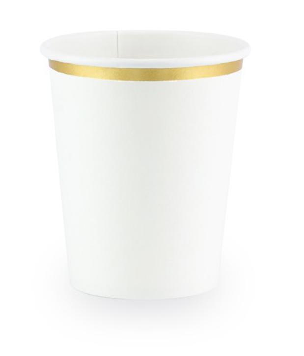Becher weiß mit goldrand 260ml