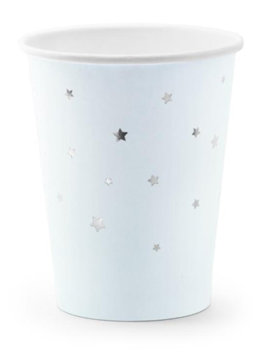 Becher babyblau mit silbernen Sternen 6 Stk.