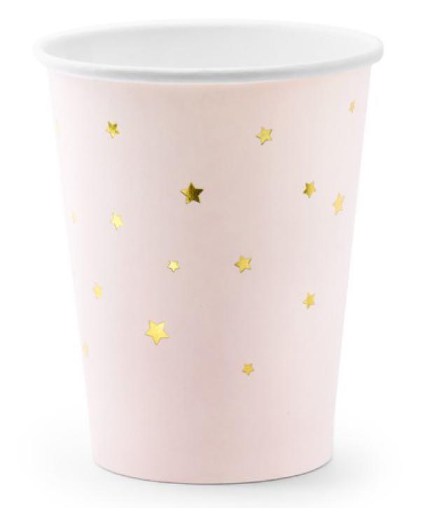 Becher babyrosa mit goldenen Sternen 6 Stk.