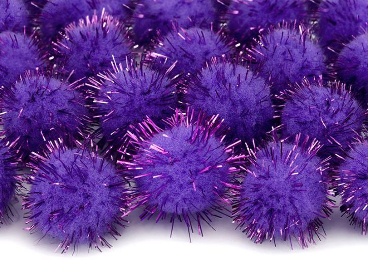 Pompons violett glitzer 20 Stk.