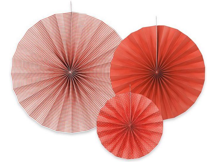 Dekofächer rot mit Muster 3 Stk.