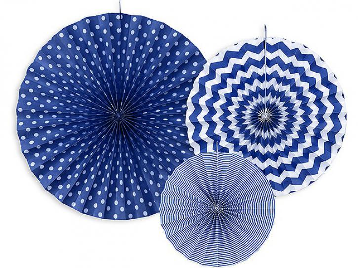 Dekofächer blau mit Muster 3 Stk.