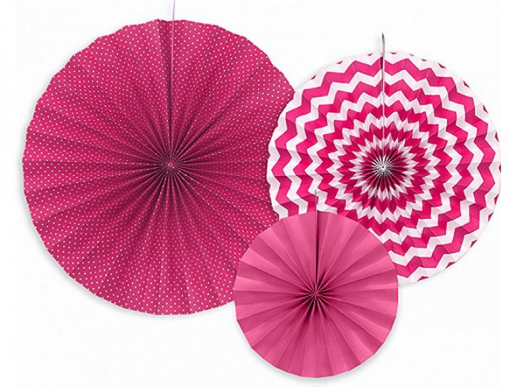 Dekofächer pink mit Muster 3 Stk.
