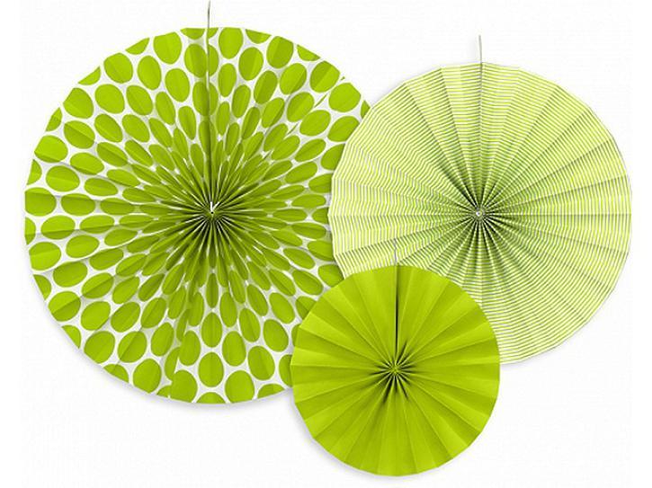 Dekofächer apfelgrün mit Muster 3 Stk.