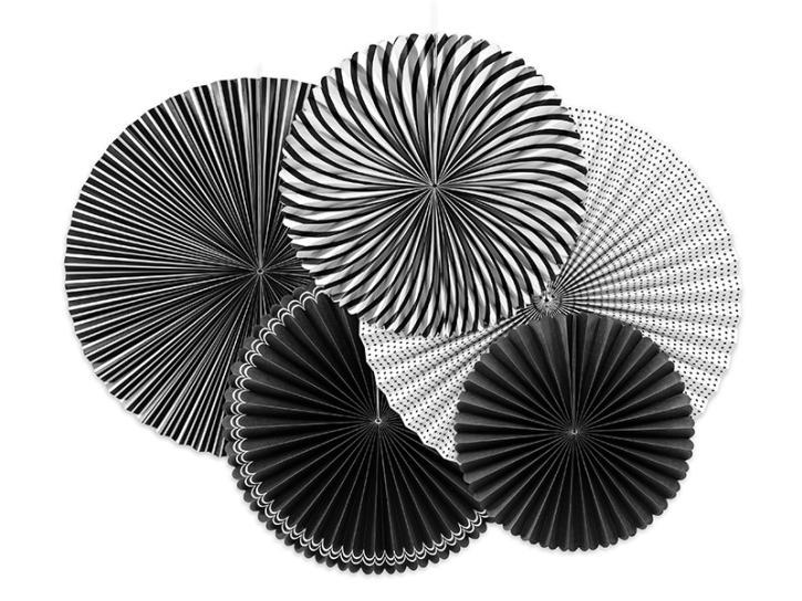 Dekofächer schwarz/weiß mit Muster 5 Stk.