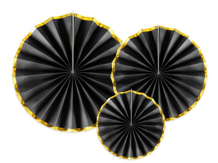 Dekofächer schwarz/gold 3 Stk.
