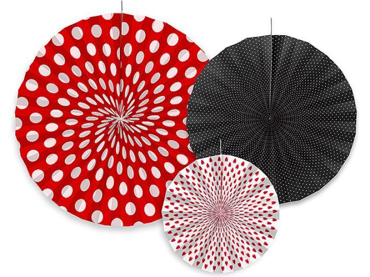 Dekofächer Ladybug rot/schwarz/weiß 3 Stk.
