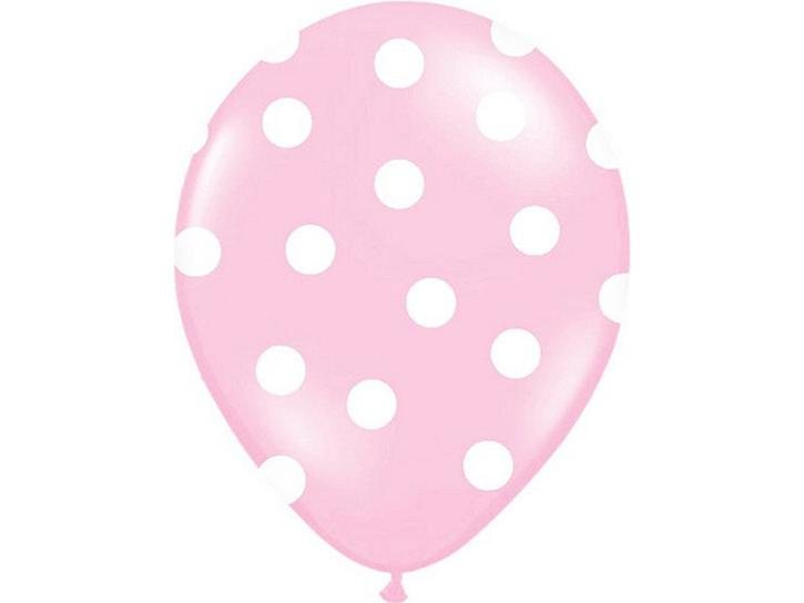 Latexballon gepunktet rosa 6 Stk.