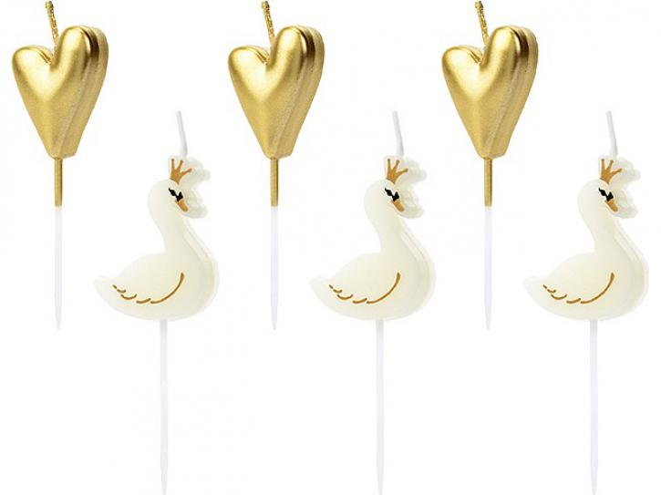 Kerzenset Lovely Swan mix 6 Stk.