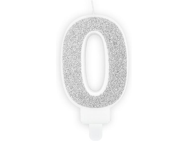 Zahlenkerze 0 silber