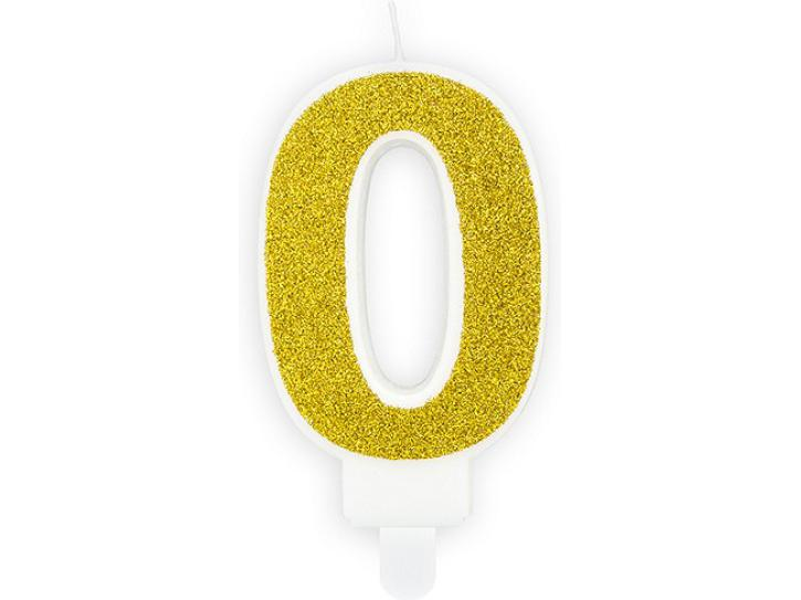 Zahlenkerze 0 gold