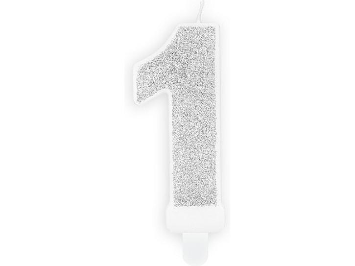 Zahlenkerze 1 silber