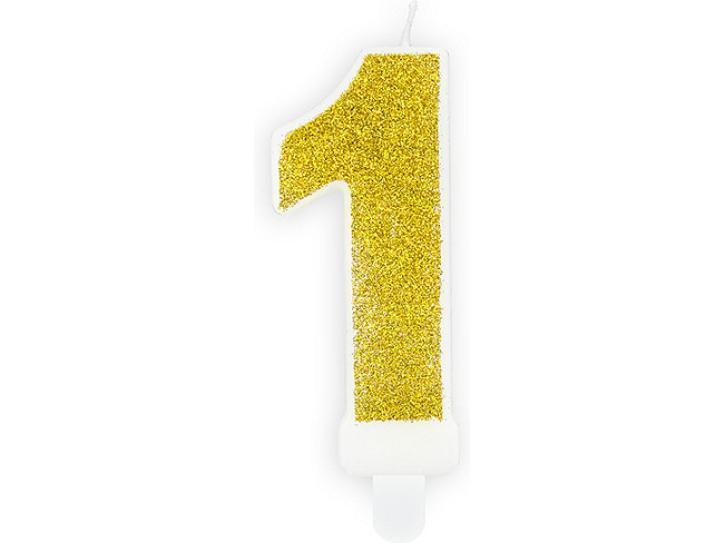 Zahlenkerze 1 gold