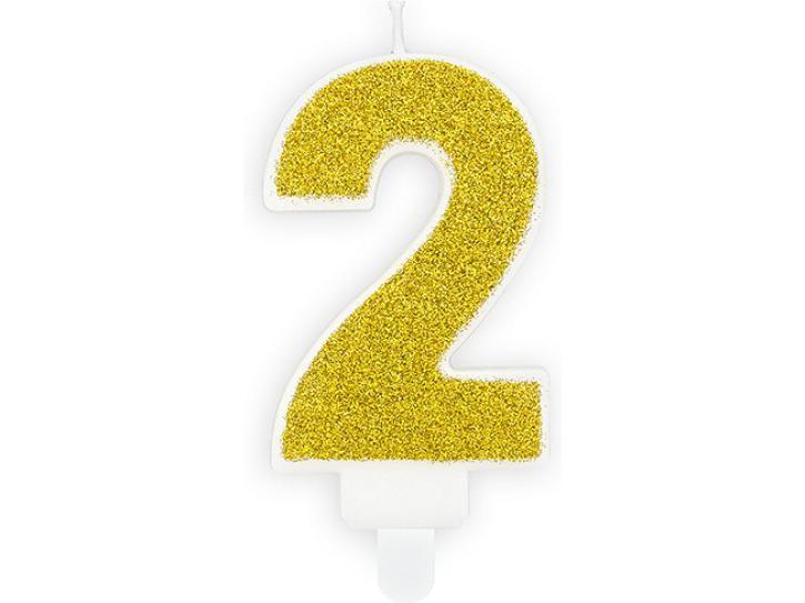Zahlenkerze 2 gold