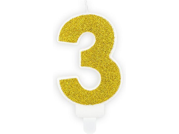 Zahlenkerze 3 gold