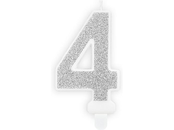 Zahlenkerze 4 silber
