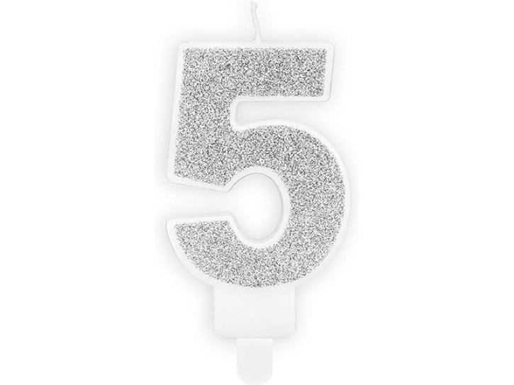 Zahlenkerze 5 silber