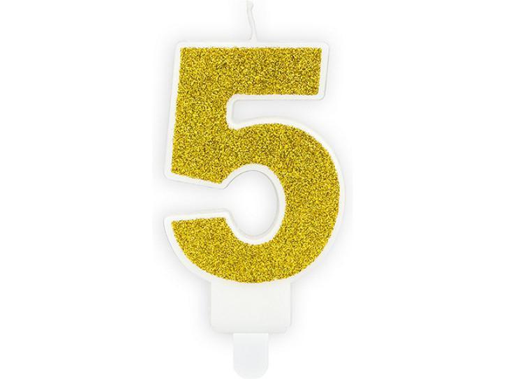 Zahlenkerze 5 gold