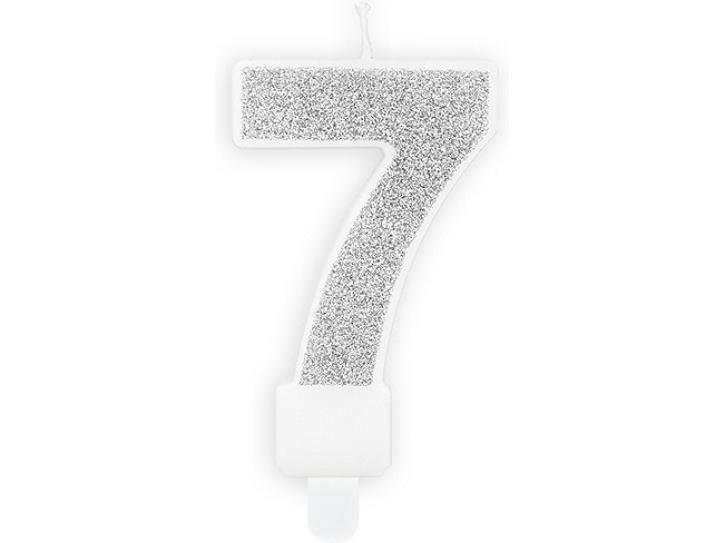Zahlenkerze 7 silber