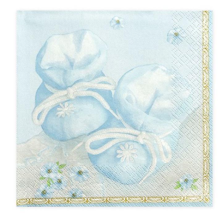 Servietten Babyschuhe blau 20 Stk.