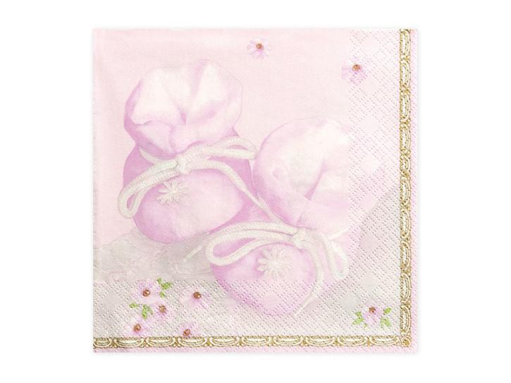 Servietten Babyschuhe rosa 20 Stk.