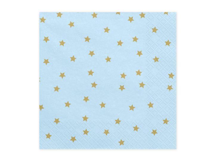 Servietten blau mit goldenen Sterne 20 Stk.