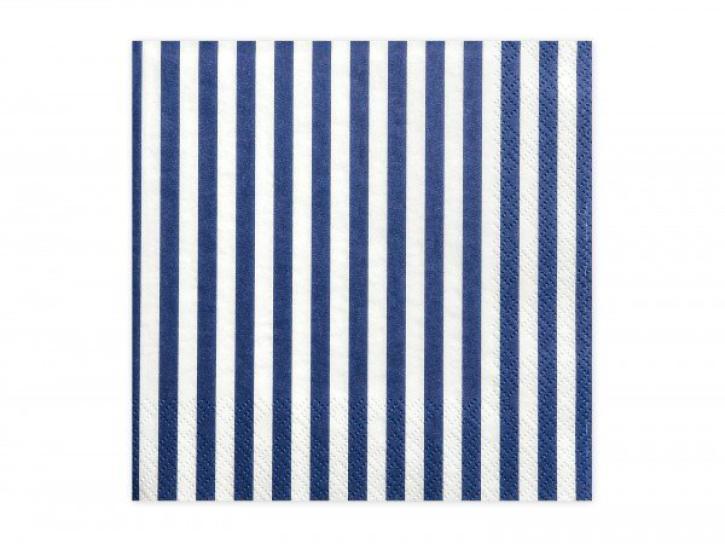 Servietten blau/weiß gestreift 20 Stk.