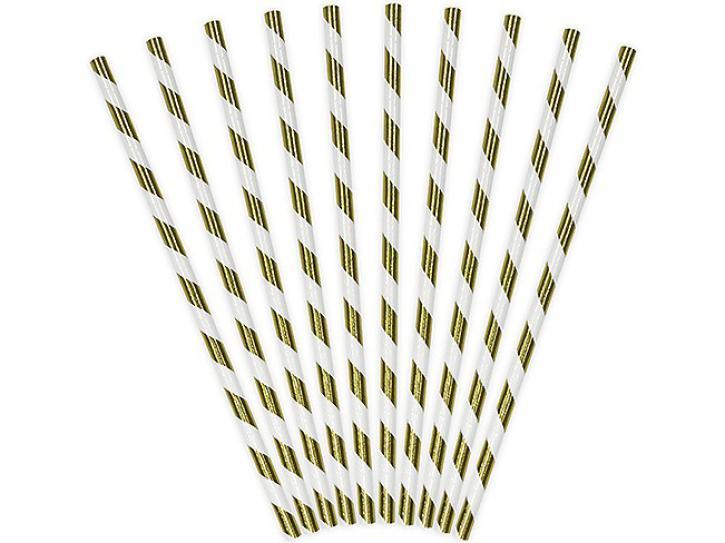 Papier Strohhalme weiß/gold 10 Stck.