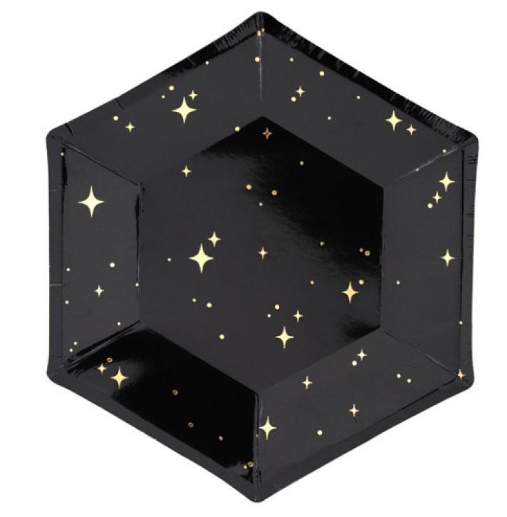 Teller schwarz mit goldenen Sternen 6 Stk