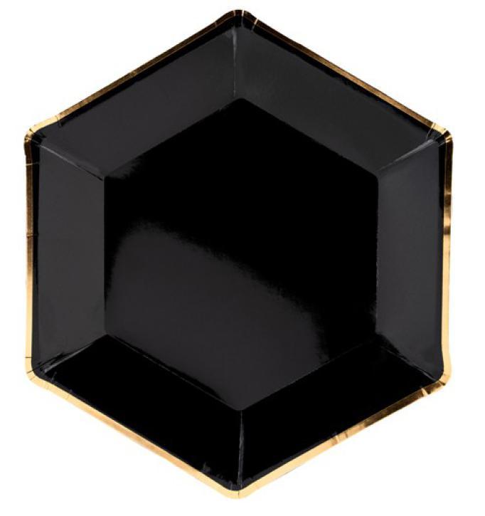 Teller schwarz mit goldenen rand 6 Stk.